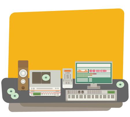 recording studio: Sound recording studio. Flat vector.