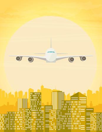 Plane flying over urban city. Vector illustration