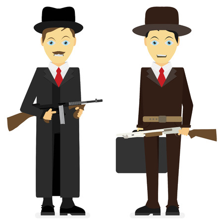 gunman: Gangsters. Vector flat illustration isolated on white background. Illustration