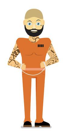 Prisoner, flat vector illustration