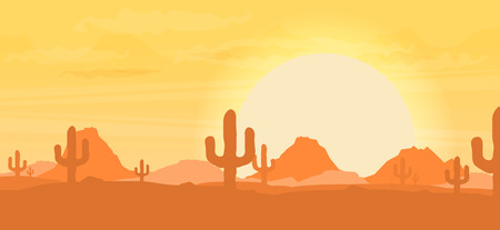 lifeless: Western desert landscape at sunset vector illustration.