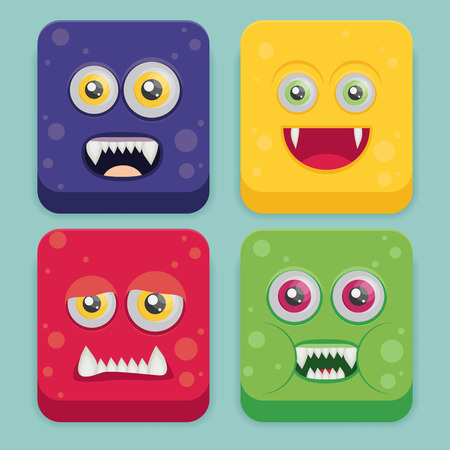 illuminati: Cartoon monster set in flat style. Happy halloween vector.