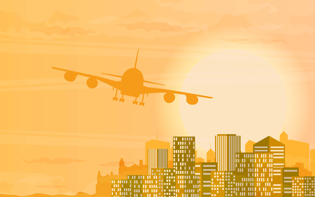 depart: Vector illustration with plane taking off at sunset.