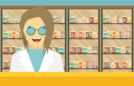 druggist: Modern flat vector illustration of a female pharmacist at the counter in a pharmacy opposite the shelves with medicines.