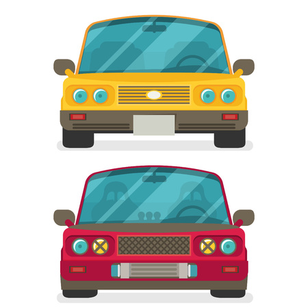 sedan: Car front view. Race car tuning. Colorful vector illustration of vehicle. Flat design.