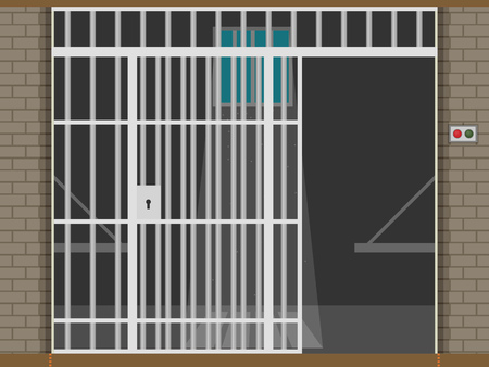 Scene with prison room. Flat illustration