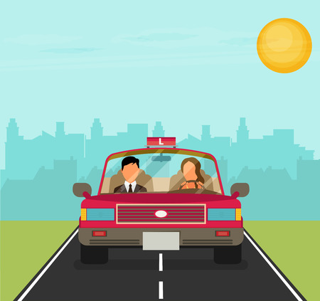 driving school: Flat design concept of driving school with car, woman, instructor.