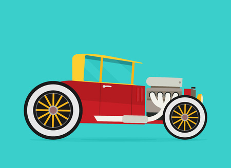 Vector Hotrod. Flat vector illustration Illustration