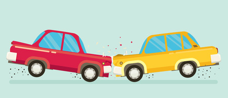 Car crash. Two cars hit head-on. Flat design. Ilustração