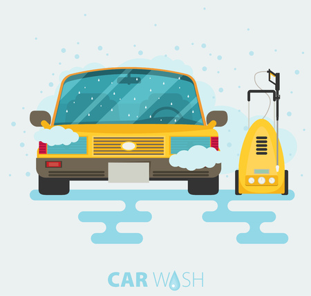 Car wash web banner in flat style. Vector illustration with car, tool for hand car wash. Illustration