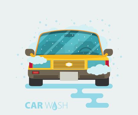 briliance: Car wash. Flat design vector illustration.