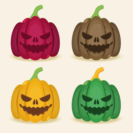 helloween: Vector set of halloween colored pumpkins.