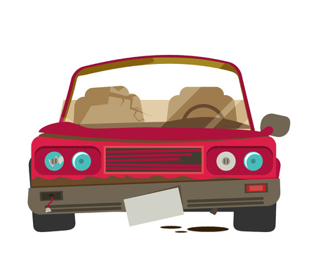 crush: Car crush vector illustration isolated on white background