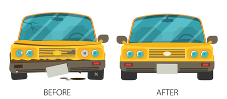 outboard: Car body frame repair vector illustration in flat style Illustration