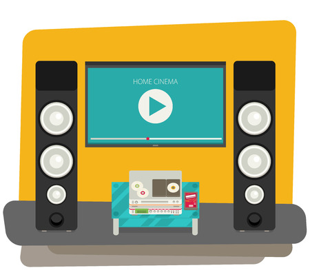 exposition: Home cinema. Vector illustration. Flat style.