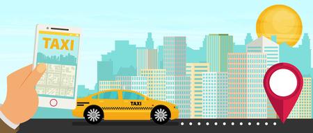 Taxi service. Smartphone, city skyscrapers. Vector flat illustration. Illustration
