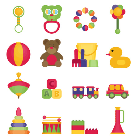 bear berry: Baby toys flat icon set vector