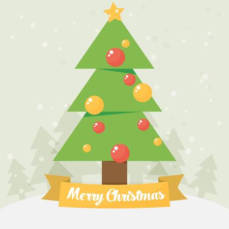 christmas tree illustration: Christmas card. Christmas tree. Vector flat illustration.