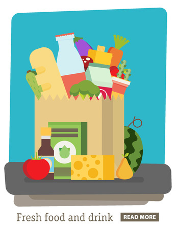 Flat design colored vector illustration Paper bag,package with food and drink products .Vegetables, bread, dairy products.