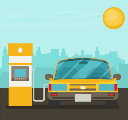 refuel: Refuel car at gas station concept flat illustration Illustration