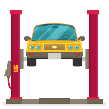 lifted: Car repair. Car lifted on auto lift. Vector
