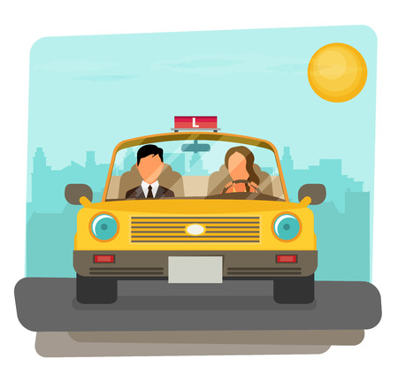 car driver: Flat design concept of driving school with car, woman, instructor.
