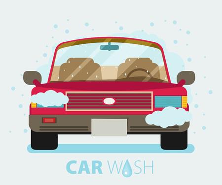 car wash: Car wash. Flat design vector illustration.
