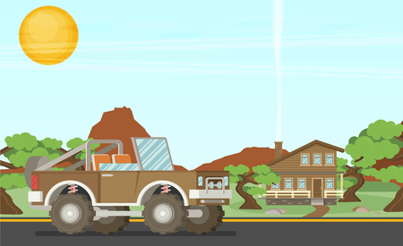 conveyance: Pickup offroad truck  at nfture landscape background. Vector illustration