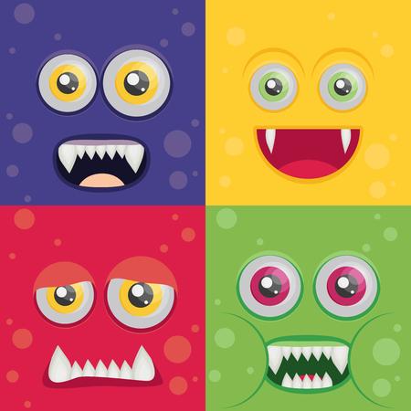blood sucker: Cartoon monster set in flat style. Happy halloween vector.