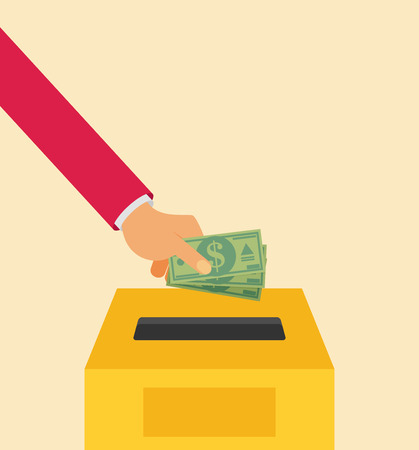 Hand putting money in to the donation box. Flat vector illustration.