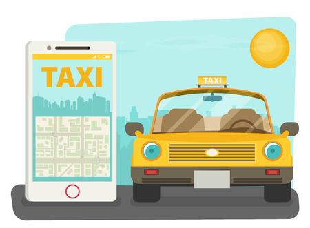 usage: Taxi service. Smartphone, city skyscrapers. Vector flat illustration. Illustration