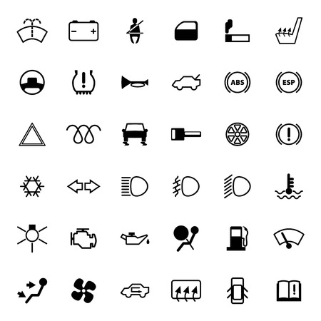 coolant temperature: Car dashboard icons set.