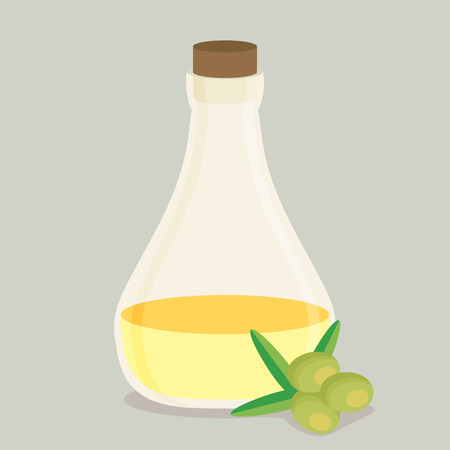 Bottle of olive oil and branch vector flat.