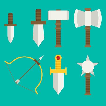 Vector flat spel iconen set. middeleeuwse wapens