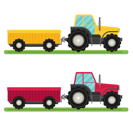 tractor trailer: Tractor with trailer vector. Flat design. Industrial transport. Illustration