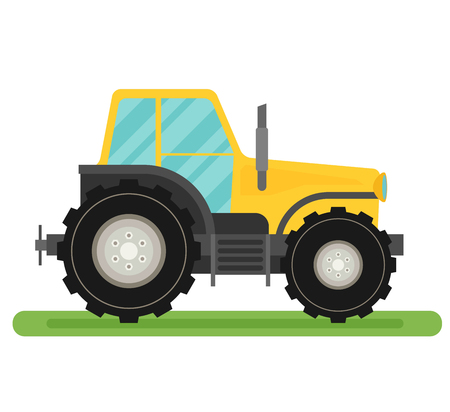 agronomics: Tractor isolated on white background flat vector.