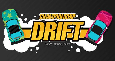 racecar: Top view of a drifting cars. Drift banner for web or print. Flat vector.