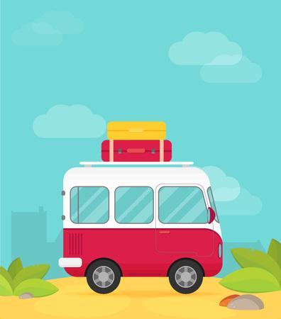 Vector caravan trailer in flat style.
