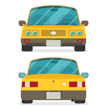 frontal view: Car front and rear. Vector flat illustration