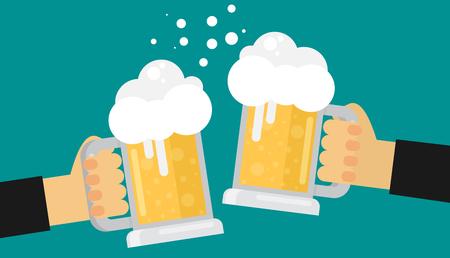 steins: Two men toasting glasses of beer. Flat vector.