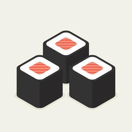 nori: Food illustration -set of sushi roll with nori. Modern 3d flat design isometric concept. Illustration