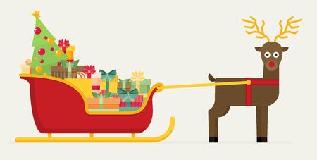 Santa sanie z prezentami i prezentami z reniferową wektorową płaską ilustracją