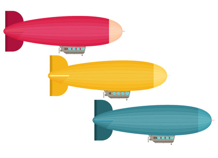 blimp: Set of dirigible balloon. Flat vector