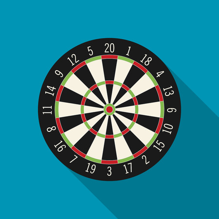 dart board: Game illustration with darts in flat design style.