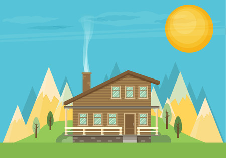 Chalet, wooden house, eco house, house on the nature - vector flat illustration. Illustration