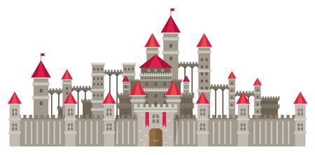 Magic fantasy castle - flat style illustration.