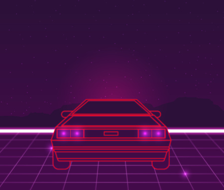 Retro future, 80s style Sci-Fi Background. Futuristic car. Vectores