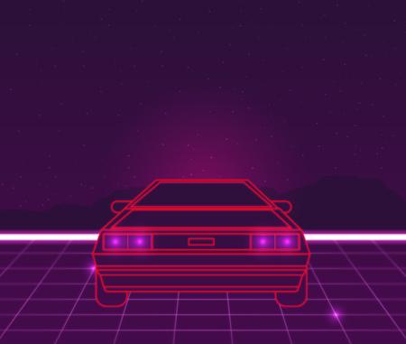 Rétro avenir, fond de science-fiction en style années 80. Voiture futuriste. Banque d'images - 70509738