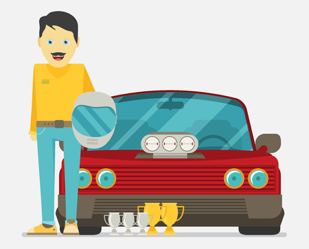 Car front view. Pilot person character portrait. Race car tuning. Colorful vector illustration of vehicle. Flat design.