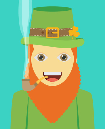 clover face: flat design icon on Saint Patricks Day character leprechaun with green hat, red beard, smoking pipe Illustration